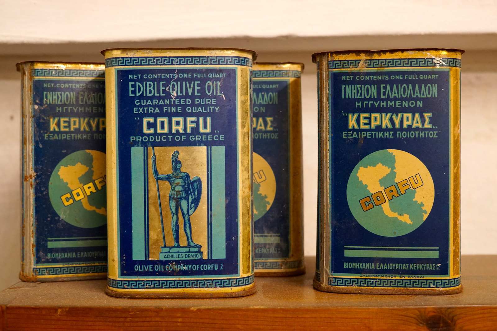 Old packaging of Corfiot olive oil